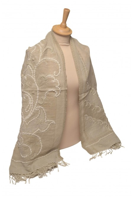 SHAWL SCARF WRAP  100% WOOL  WITH HAND EMBROIDERY  IN BEIGE  COLOR