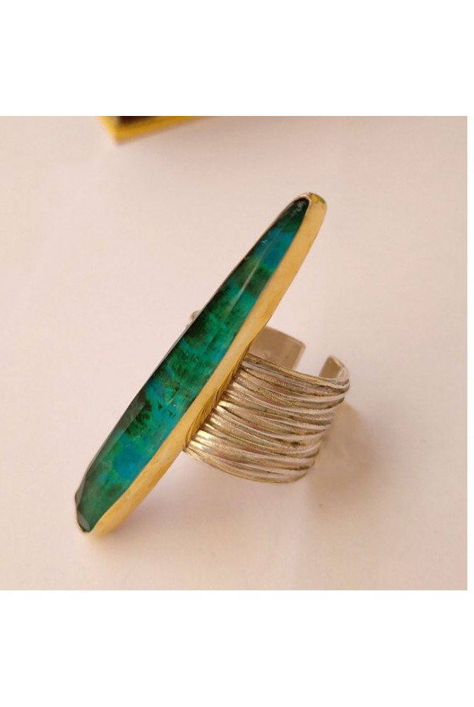 Contemporary silver ring   with a beautiful chrysocolla