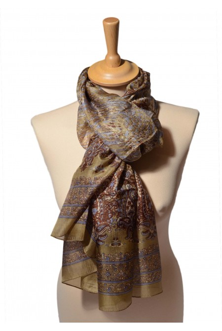100% SILK SCARF   IN BROWN  COLOR