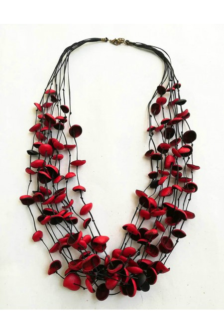 Handmade genuine leather Necklace  with  RED  flowers