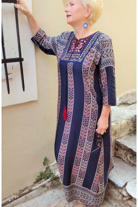 Boho style dress  with handmade embroidery  - One size perfect up to  XL / Blue Dress / Long Dress