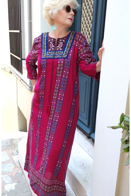 Boho style dress  with handmade embroidery  - One size perfect up to  XL / Red Dress / Long dress
