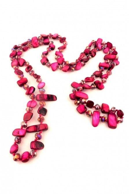 Beautiful Necklace made of mother of pearls and crystals in bright cherry red color