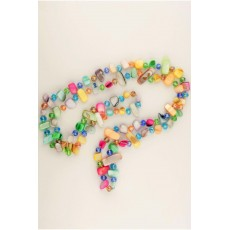 Beautiful  colorful  Necklace made of mother of pearls and crystals in festive colors of pink, green, blue, yellow and  red .