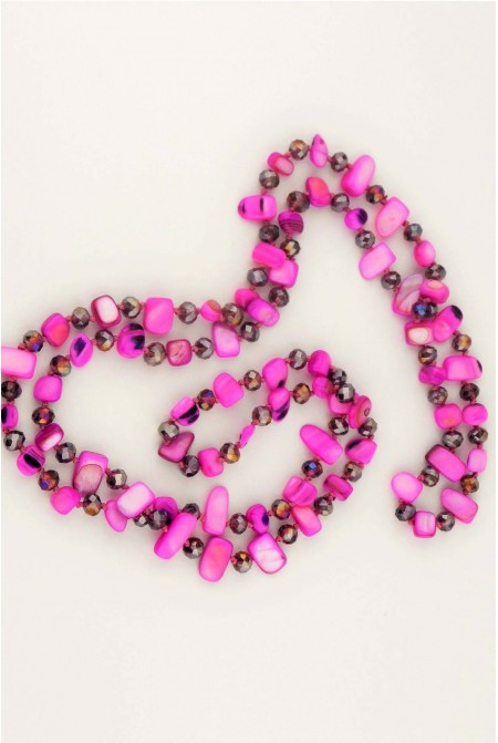 Beautiful Necklace made of mother of pearls and crystals in bright VIOLET color
