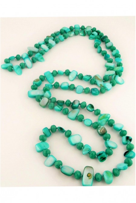 Beautiful Necklace made of mother of pearls and crystals in bright GREEN color