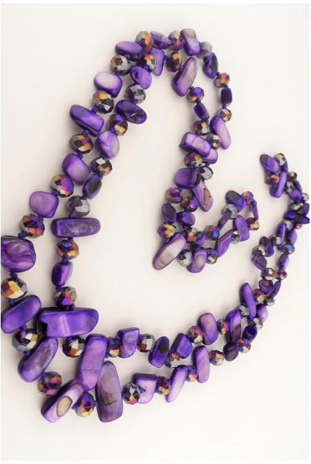 Beautiful Necklace made of mother of pearls and crystals in PURPLE color