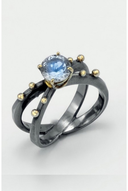 Elegant handmade   Rhodium plated silver Ring  with  Gold K18 details and an Aqua marine of  1.15ct