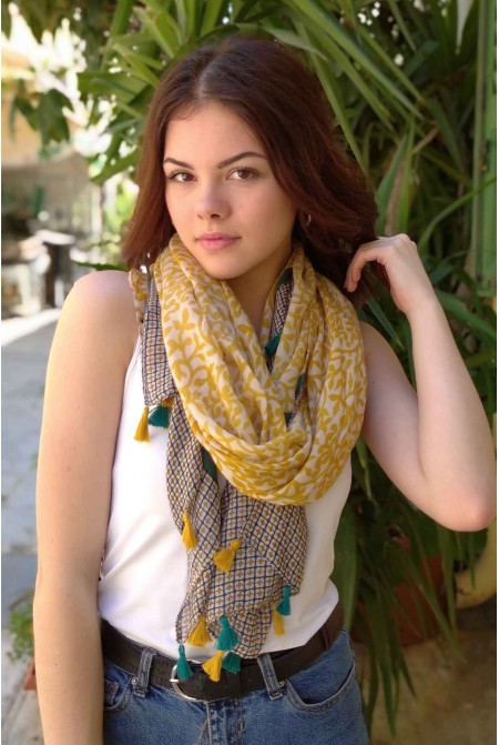 Womens Printed Scarf in MUSTARD color / Cotton  Scarf / Tassel scarf