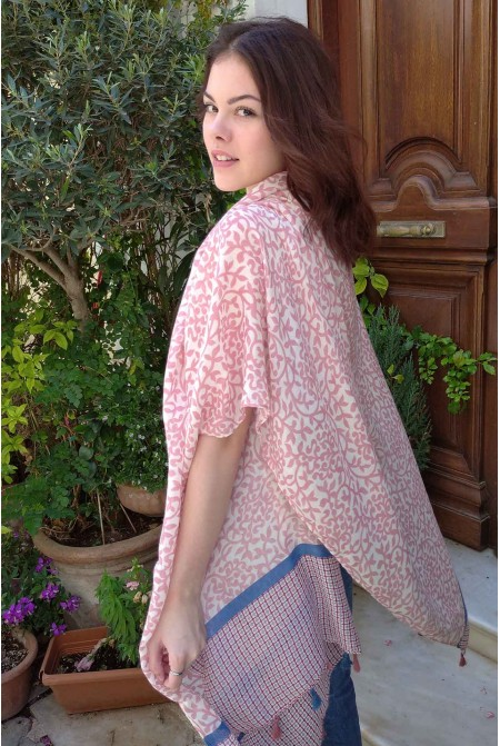 Womens Printed Scarf in PINK color / Cotton  Scarf / Tassel scarf
