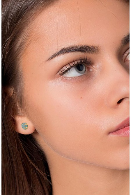 Handmade Sterling Silver Earnings with natural raw  Apatite