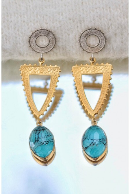 Silver  earrings  with a Black turquoise drop
