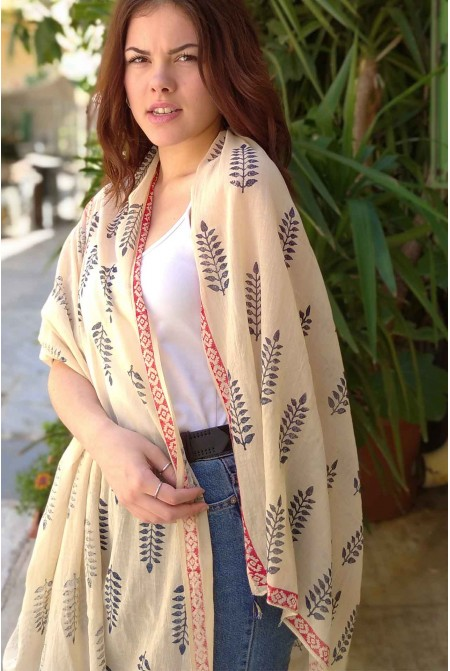Elegant  100% Cotton Scarf  / Womens cotton Scarf  / Cotton Wrap / Cotton Sarong - Block Print