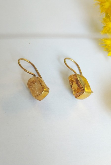 Silver Earnings with natural raw Citrine