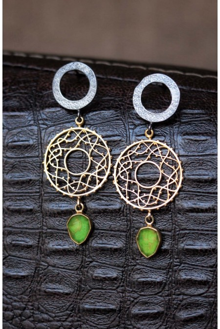 Sterling  Silver  earrings  with  a Green turquoise drop