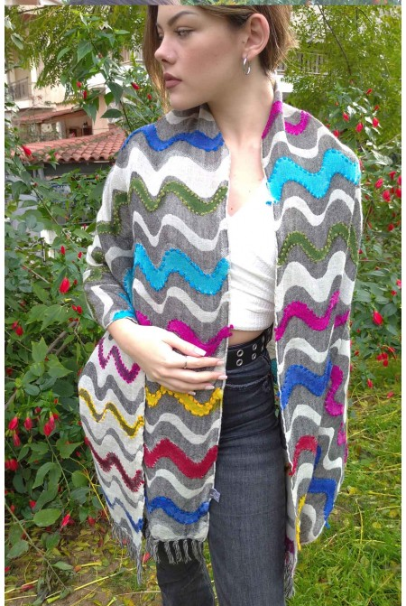SHAWL SCARF WRAP  100% WOOL  WITH HAND EMBROIDERY