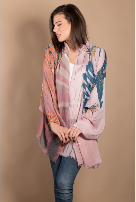Multicolored Printed Scarf  IN SALMON  COLOR