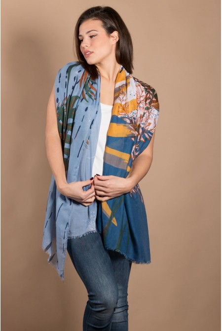 Multicolored Printed Scarf  IN BLUE  COLOR