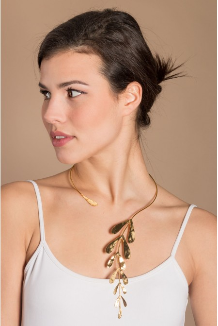 Amazing hand made Necklace  / Long  Necklace / Unusual contemporary necklace / Leaf necklace