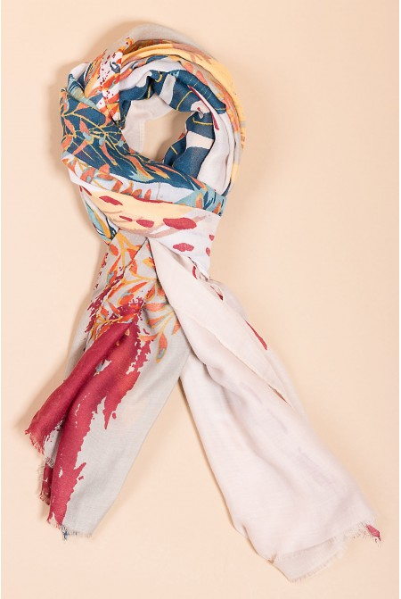 Multicolored Printed Scarf  IN IVORY  COLOR