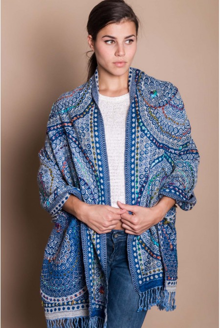 HANDMADE SHAWL SCARF WRAP  100% WOOL  WITH HAND EMBROIDERY IN BLUE COLOR