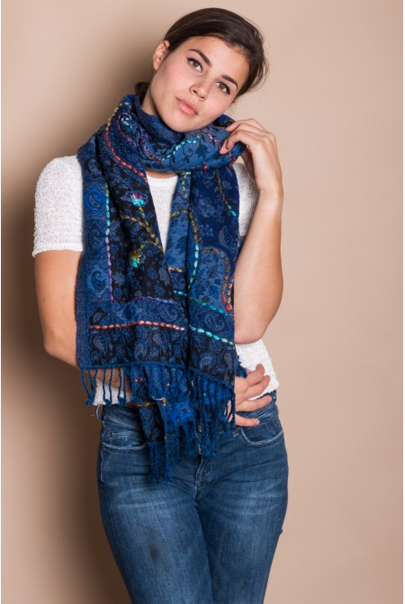 MULTICOLORED SHAWL SCARF WRAP  100% WOOL  WITH HAND EMBROIDERY