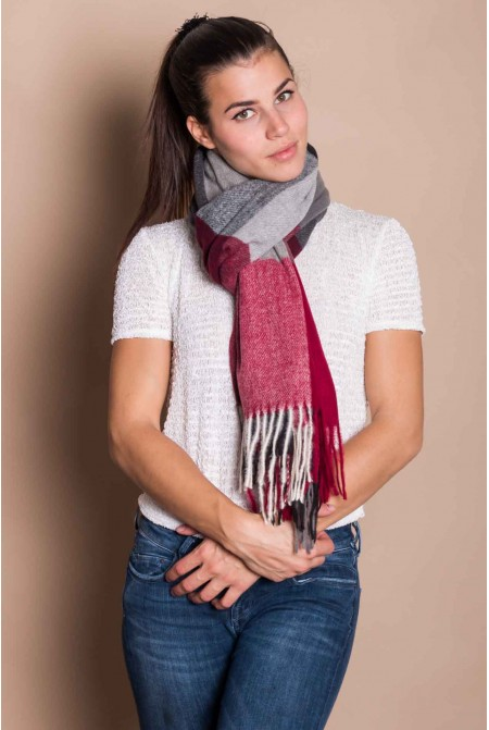 Beautiful Soft Womens  Scarf  IN RED AND GREY COLOR