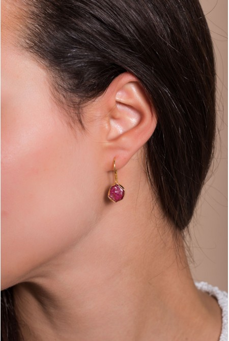 Handmade Sterling Silver Earnings with natural Ruby