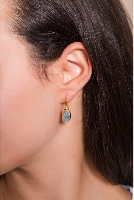 Handmade Sterling Silver Earnings with natural Aquamarine