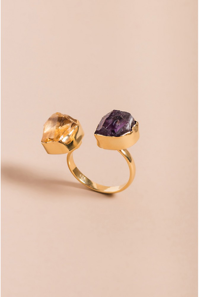 Sterling Silver Ring with natural Amethyst and Citrine gemstones