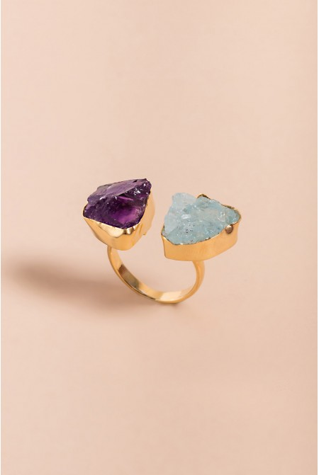 Sterling Silver Ring with natural Amethyst and Aquamarina  gemstones