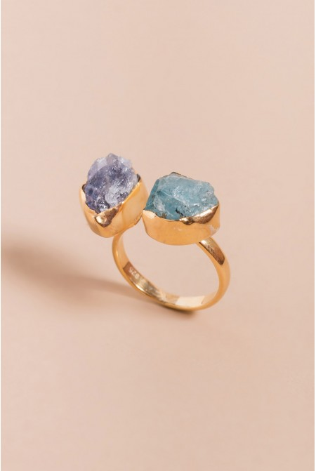 Sterling Silver Ring with a natural Tanzanite  and Aquamine