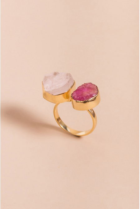 Sterling Silver Ring with natural Ruby and Quartz gemstones