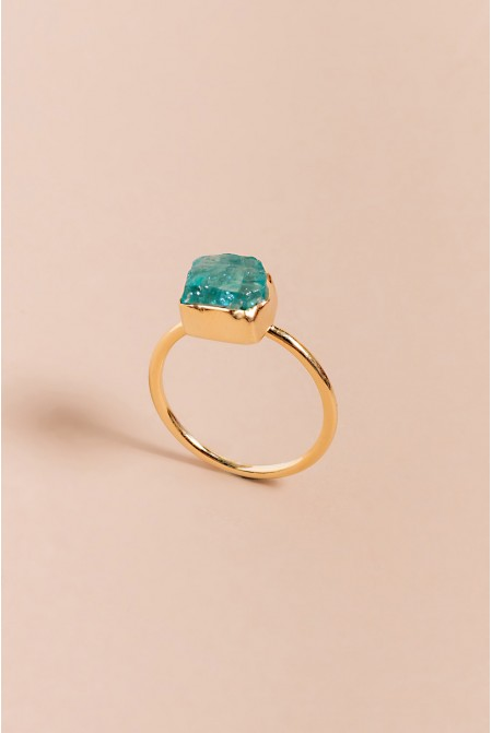 Sterling Silver Ring with natural bright Apatite gemstone