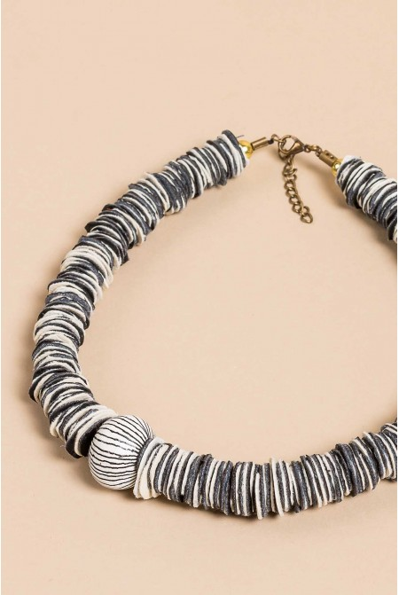 Handmade Genuine Leather Necklace with Ceramic Elements