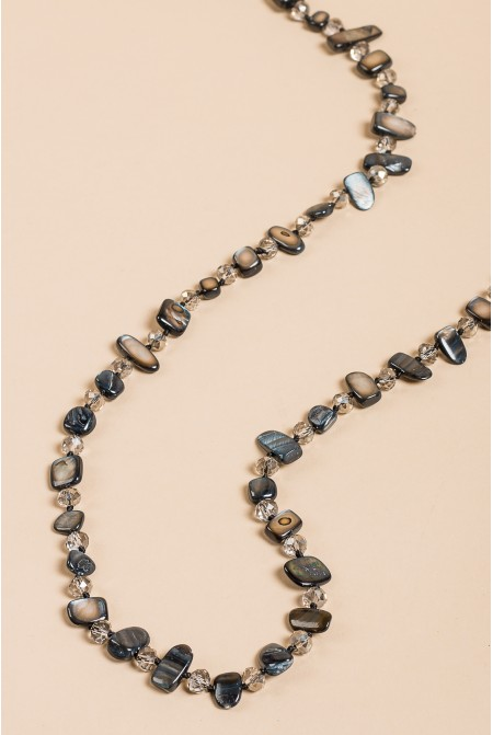 Beautiful Necklace made of mother of pearls and crystals in bright BLACK color
