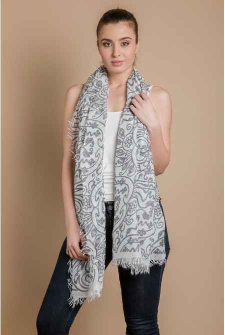 Womens Printed Scarf  in GREY  COLOR / 100% modal Scarf / Tassel scarf