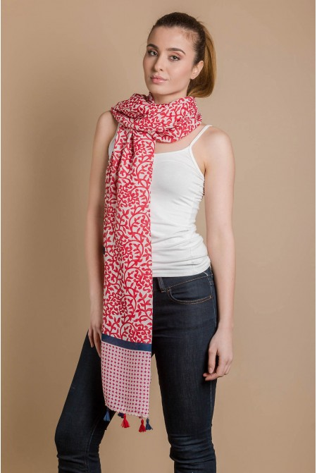 Womens Printed Scarf  IN RED COLOR / Cotton  Scarf / Tassel scarf
