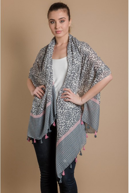 Womens Printed Scarf  IN GREY COLOR / Cotton  Scarf / Tassel scarf