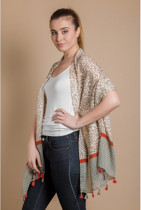 Womens Printed Scarf  IN BEIGE COLOR / Cotton  Scarf / Tassel scarf
