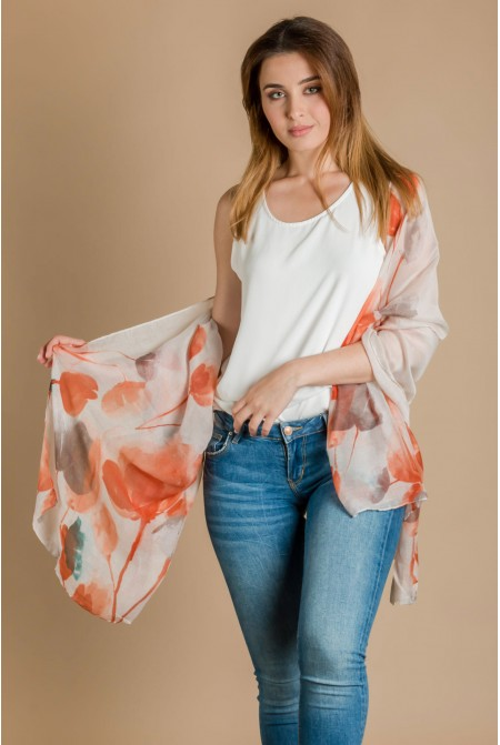 Elegant  Floral  Scarf  IN LIGHT ORANGE  COLOR