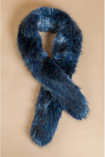 Luxurious faux fur scarf in BLUE color