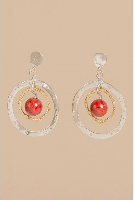 Sterling Silver earrings  with natural coral