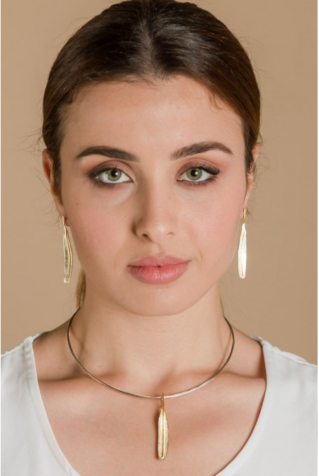 Set of necklace and earnings / Olive tree Leaf Necklace and earnings