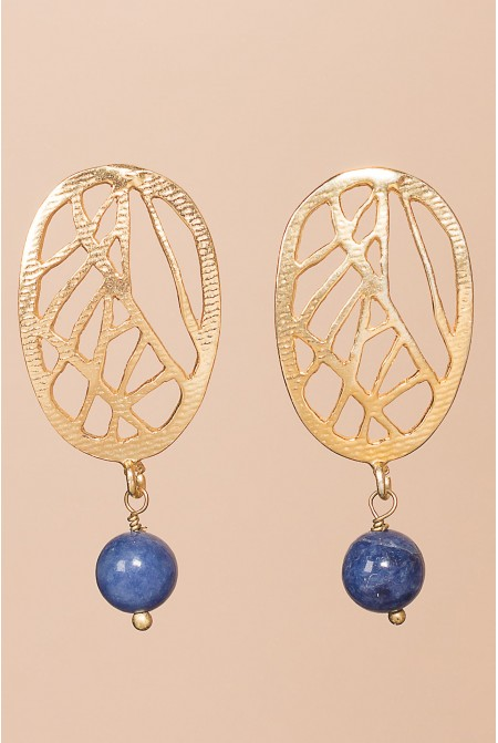 Sterling  Silver earrings with a  Lapis Lazuli  /