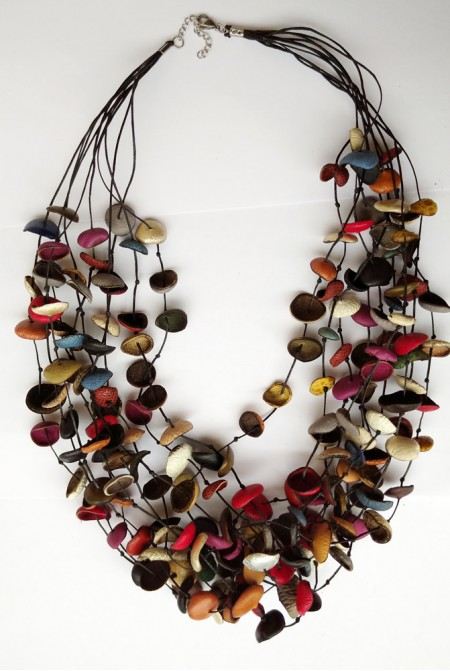 Handmade genuine leather Necklace  with  multicolored flowers  /  Minimal, women's jewelry  /  Boho style Necklace