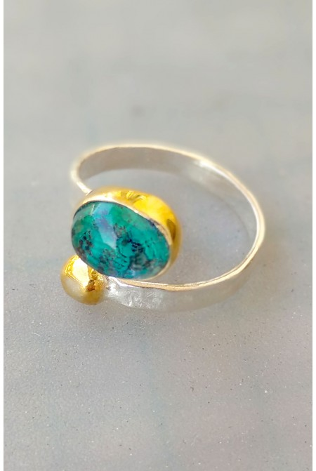 Silver Ring with  a Azurite and Malachite