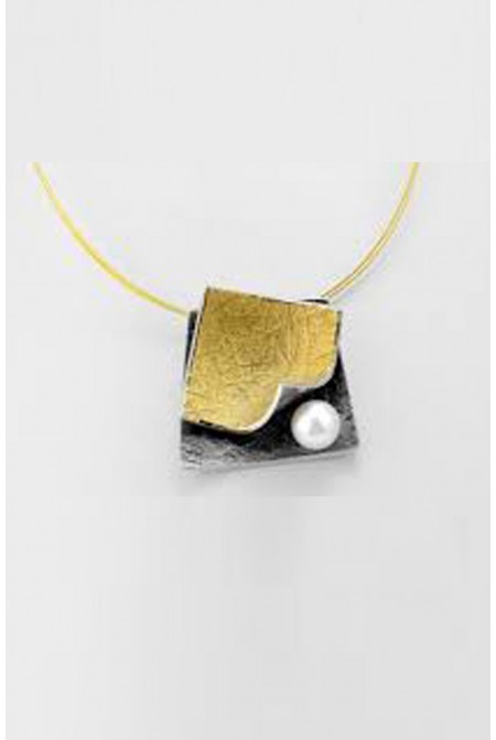 Elegant handmade Necklace eSilver 925o , Gold K18 and K22, Fresh water pearl