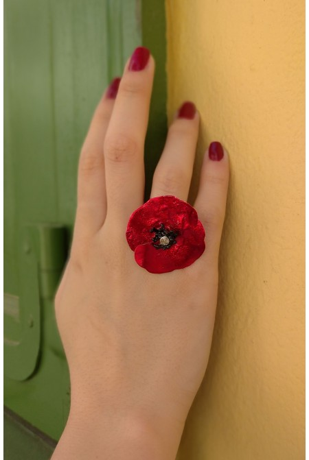 Astonishing Red Big Poppy Ring / Red Ring