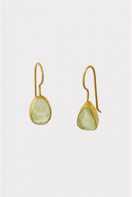 Silver Earnings with natural raw Prehnite